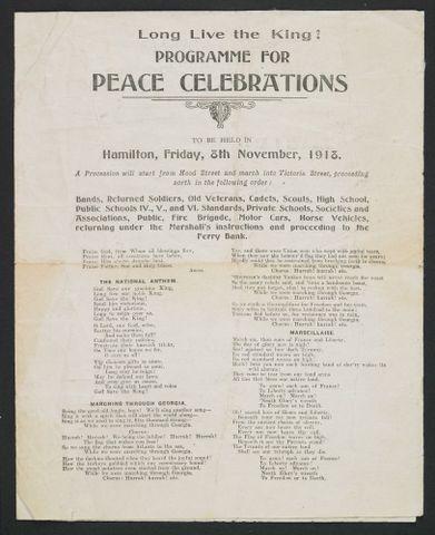 Programme for peace celebrations Hamilton, New Zealand - Museum of New Zealand Te Papa Tongarewa
