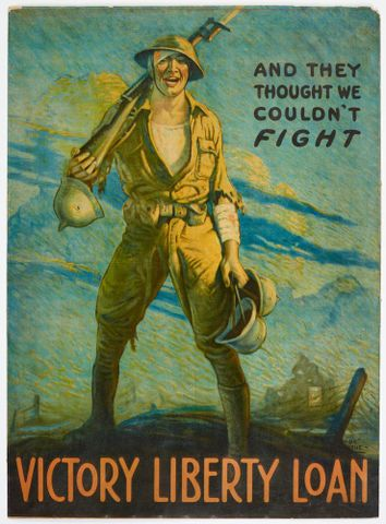 Poster, 'And they thought we couldn't fight'